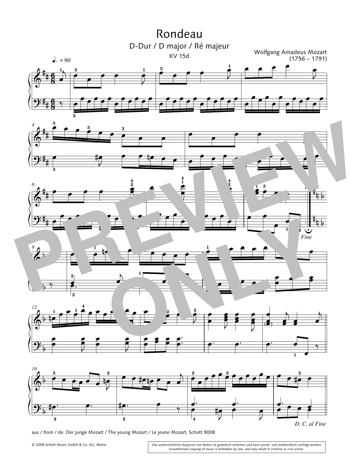 Rondeau in D major Sheet Music