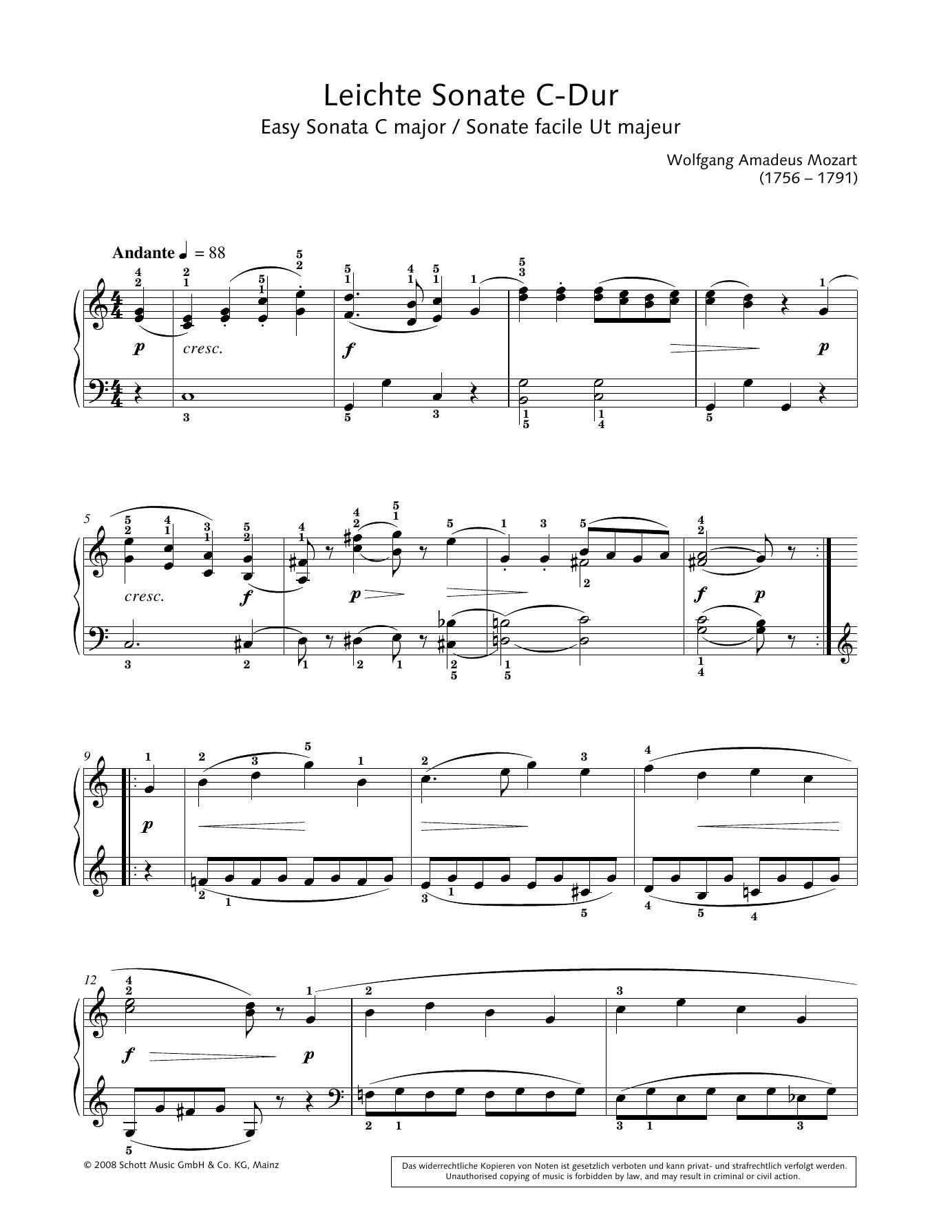 Easy Sonata in C major Sheet Music