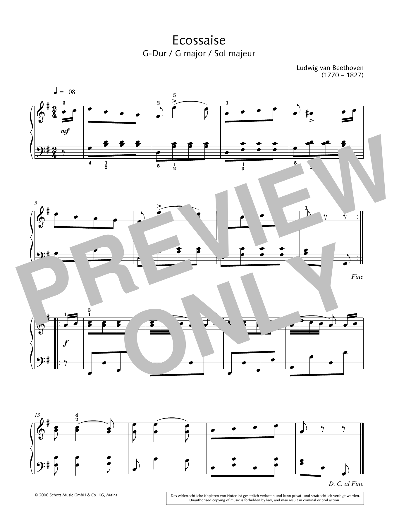 Ecossaise in G major Sheet Music