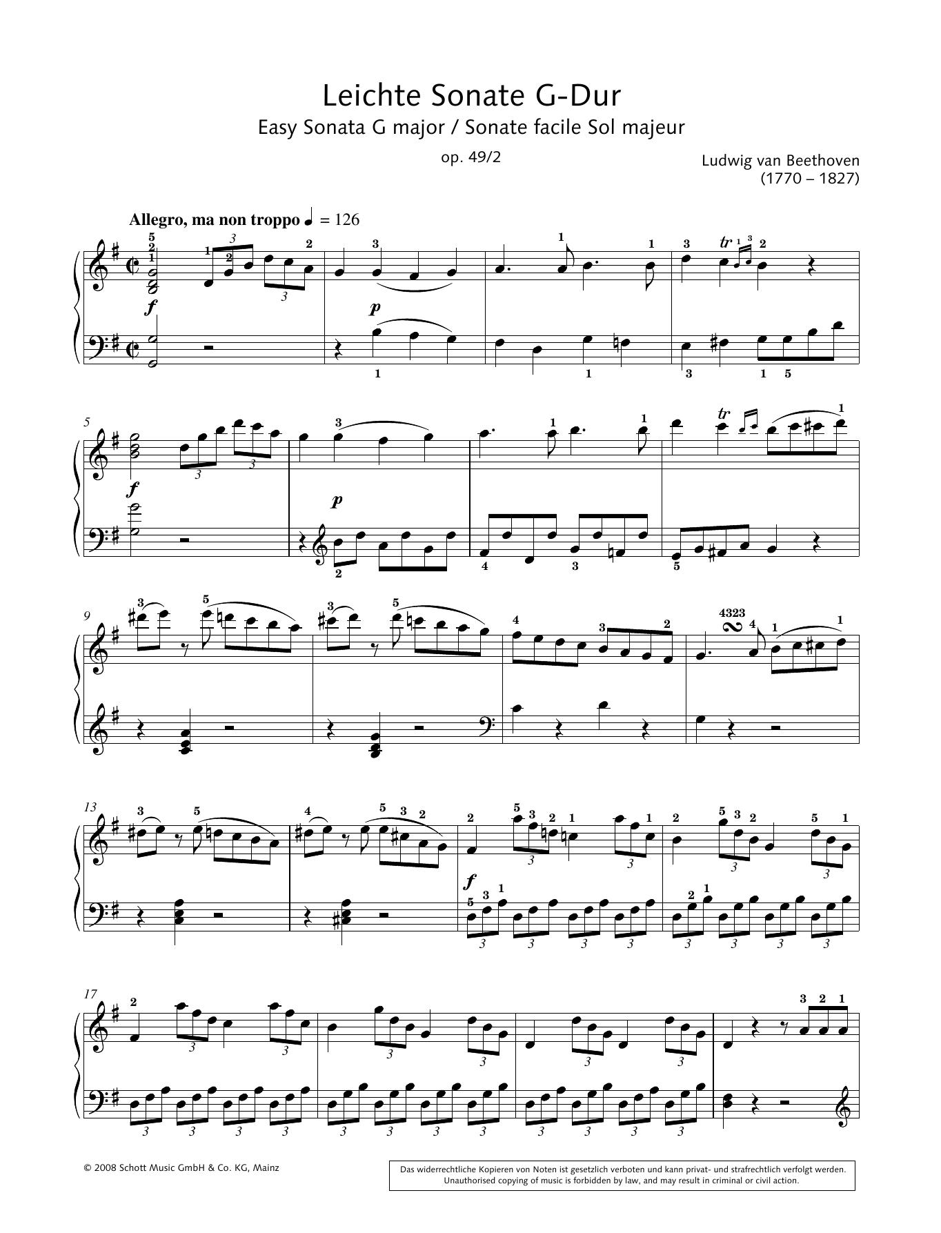 Easy Sonata in G major Sheet Music