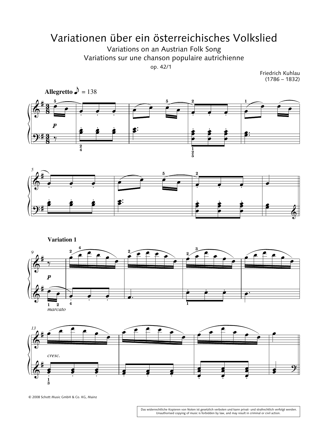 Variations on an Austrian Folk Song Sheet Music