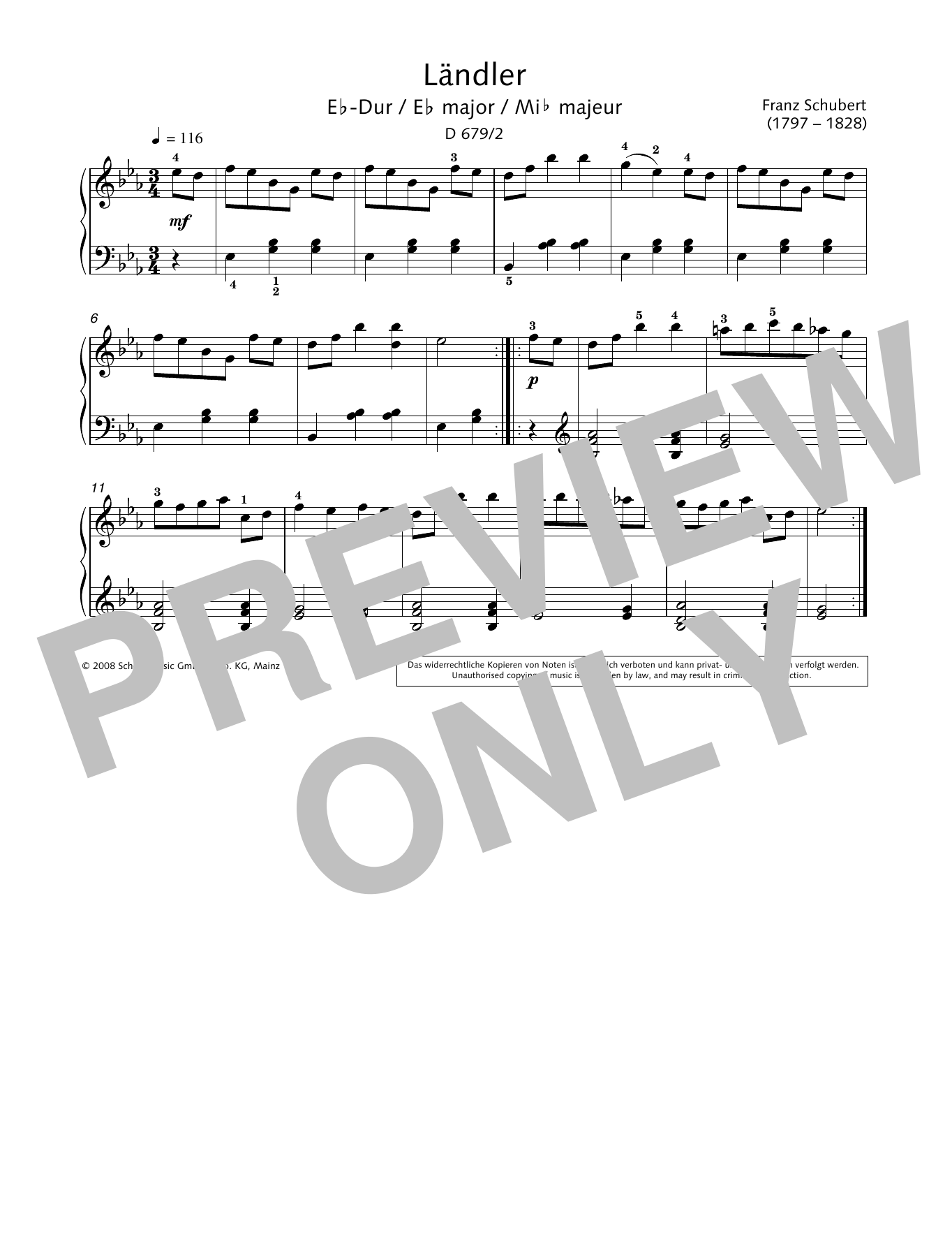 Ländler in E-flat major Sheet Music