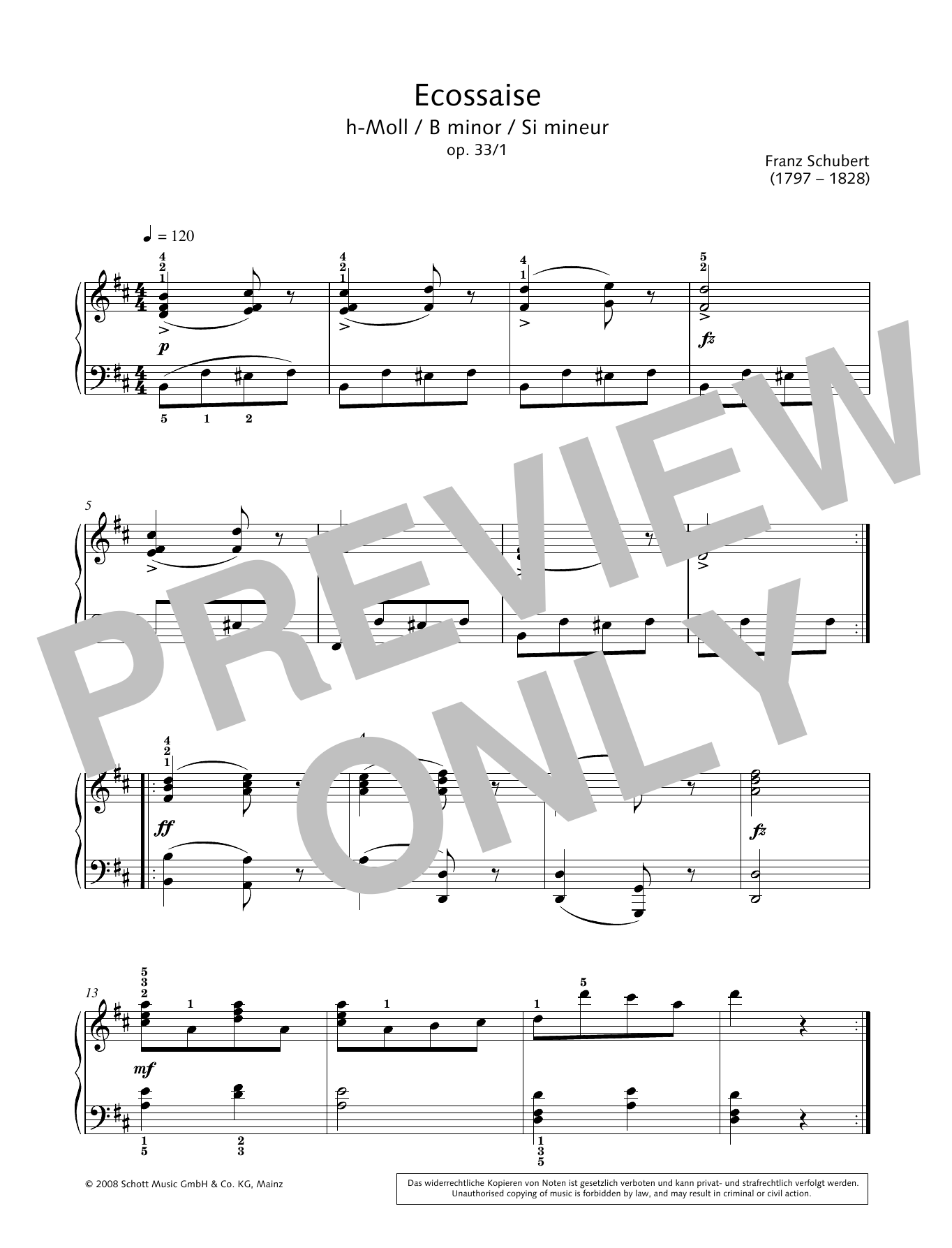 Ecossaise in B minor Sheet Music
