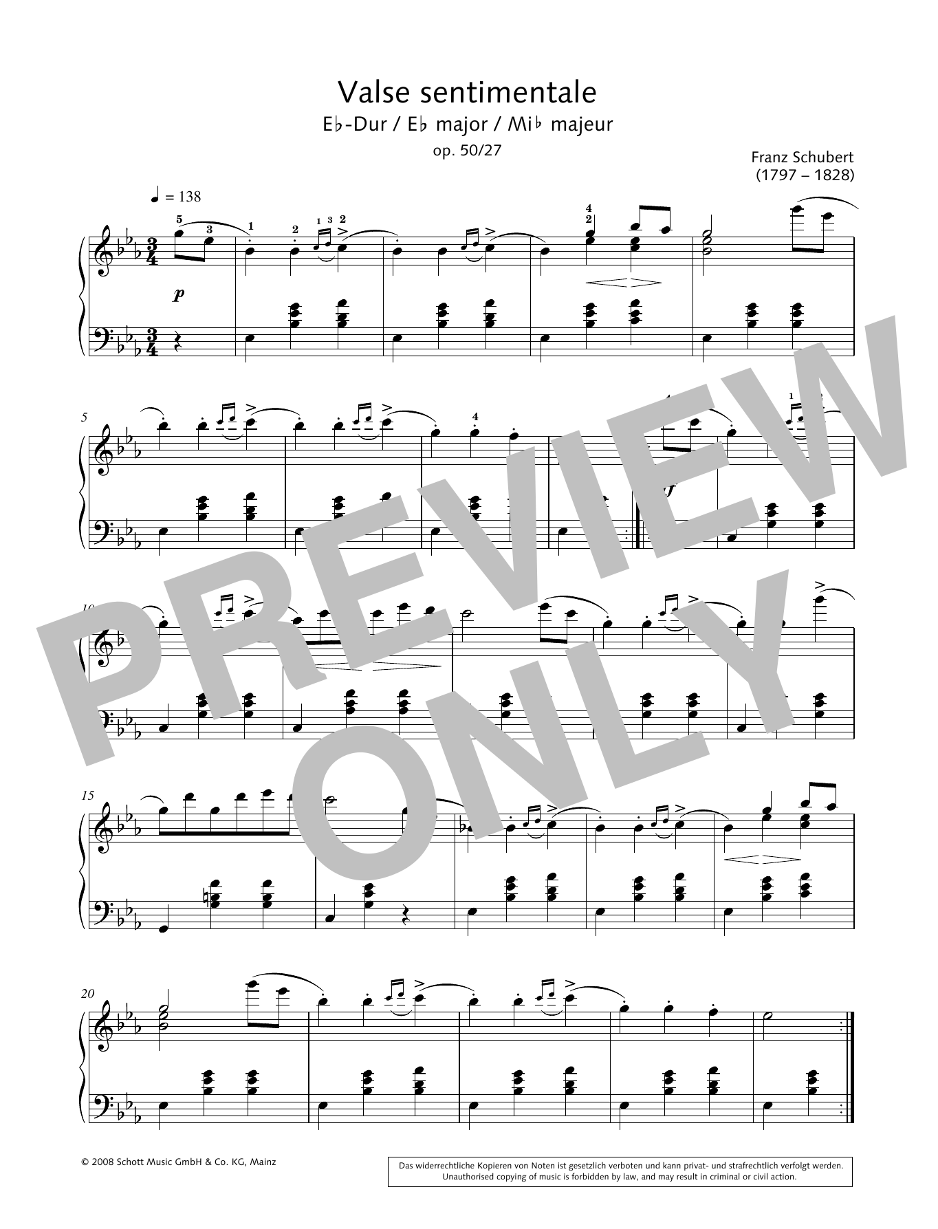 Valse sentimentale in E-flat major Sheet Music