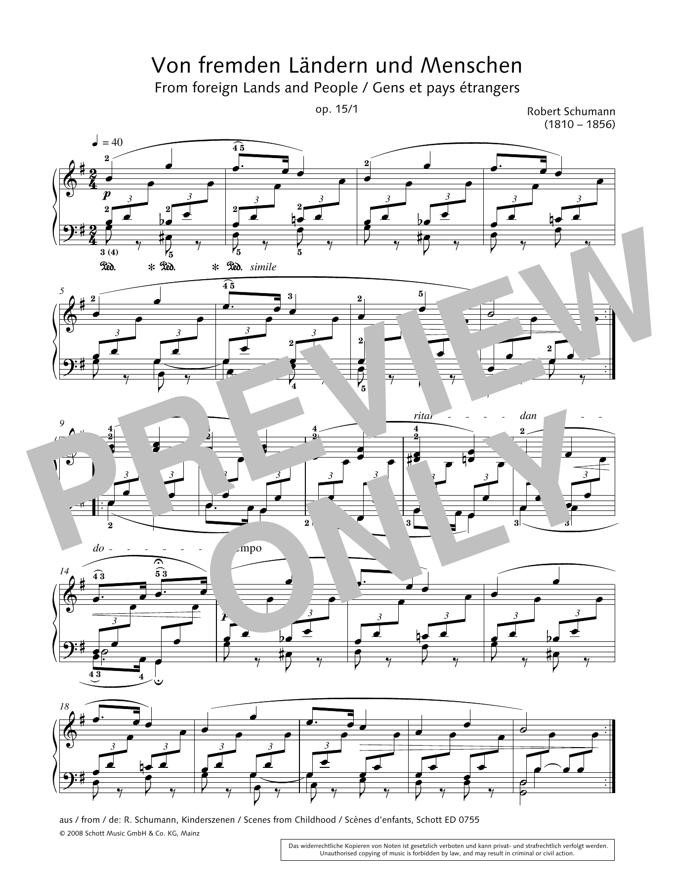 From foreign Lands and People Sheet Music