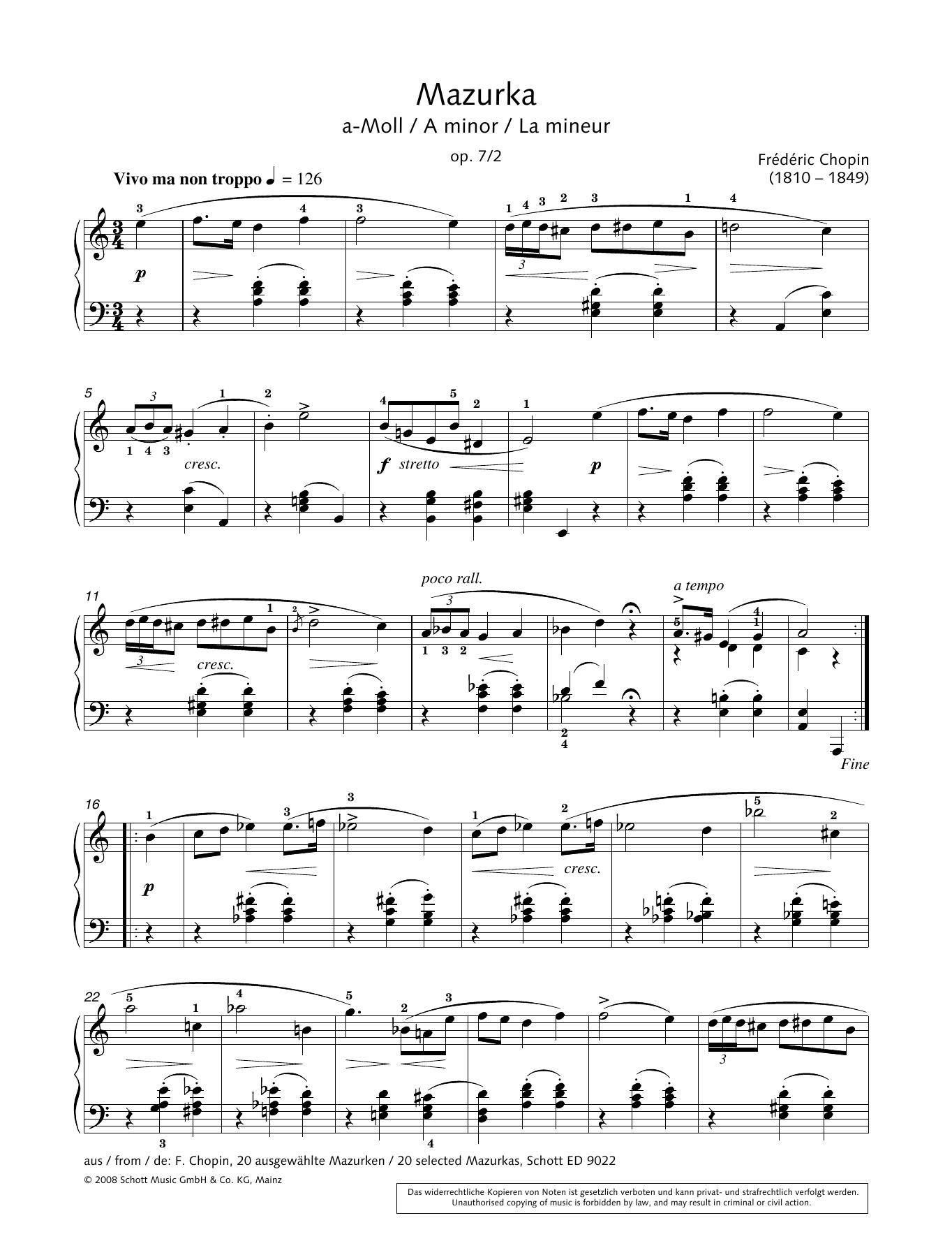 Mazurka in A minor Sheet Music