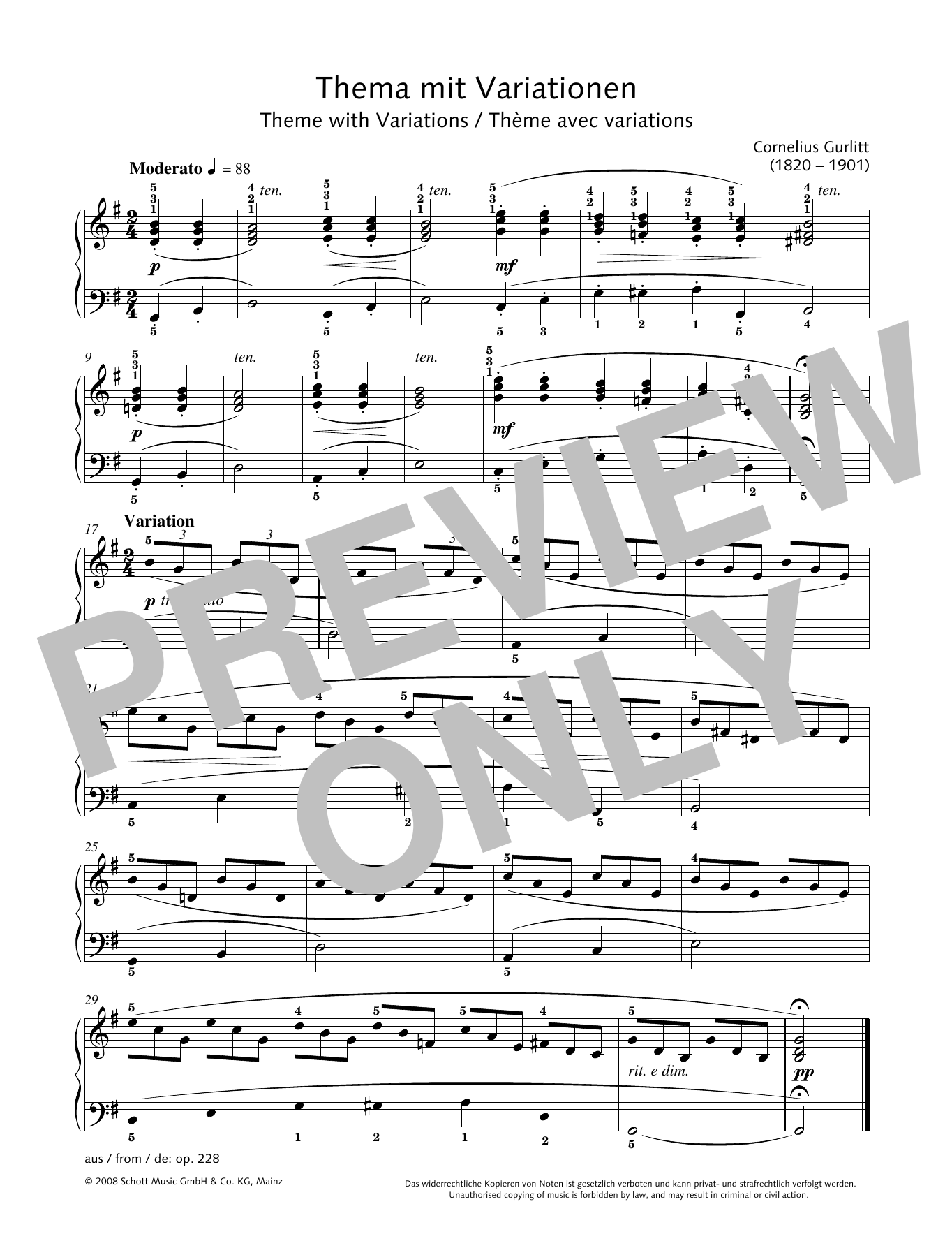 Theme with Variations Sheet Music