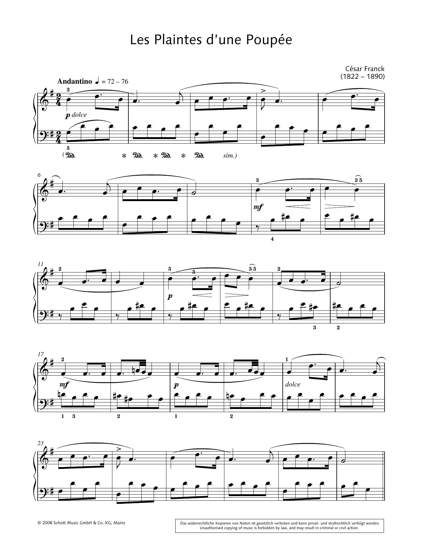 Les Plaintes d'une Poupée Sheet Music