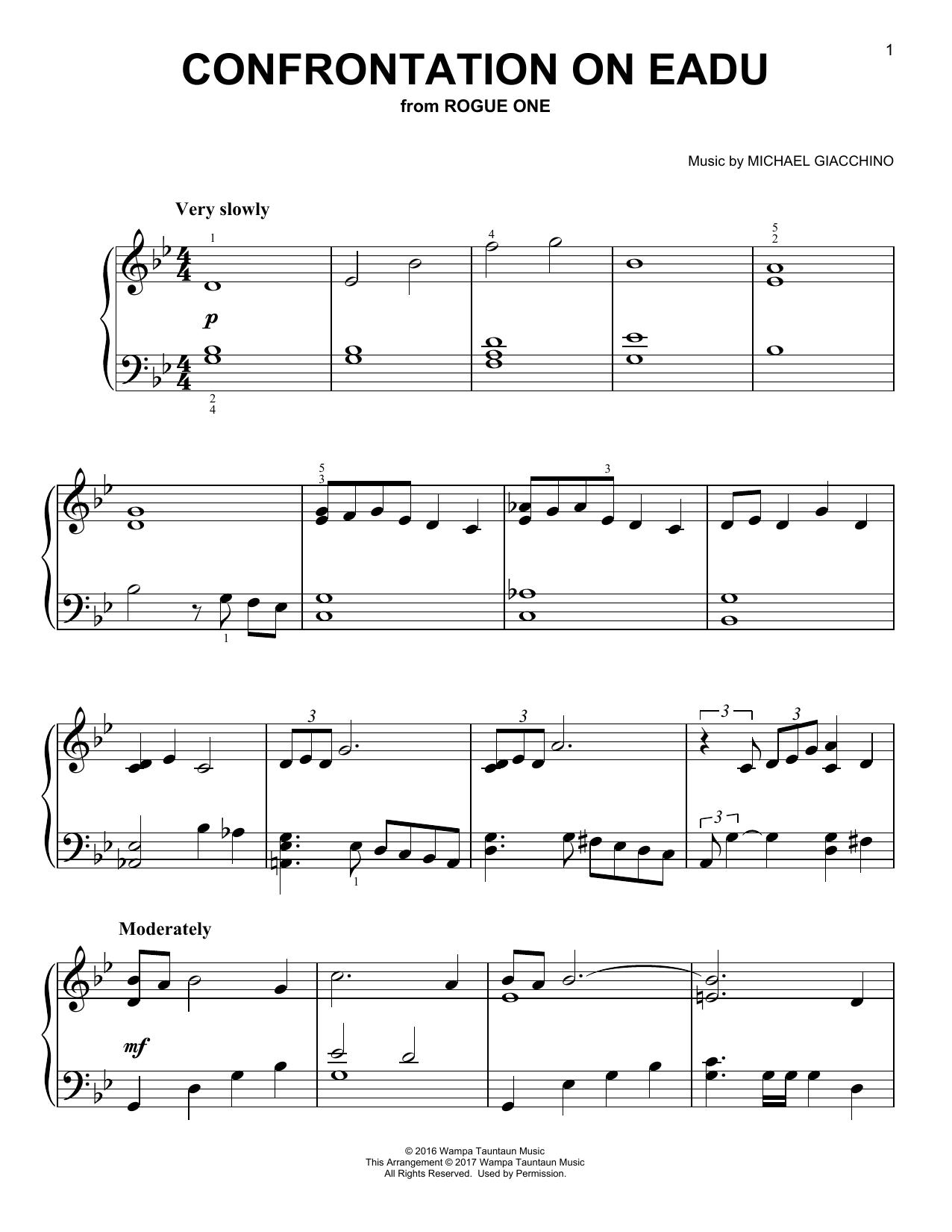 Partition piano Confrontation On Eadu (from Rogue One) de Michael Giacchino - Piano Facile