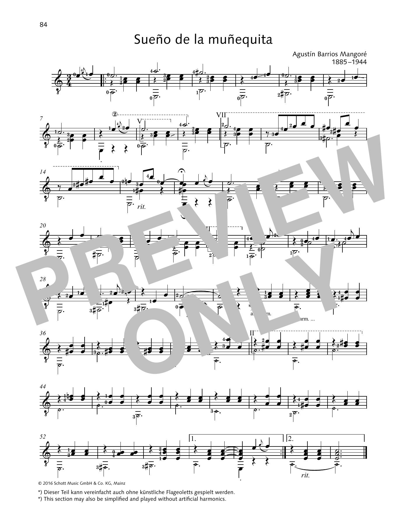 Sueño de la muñequita Sheet Music
