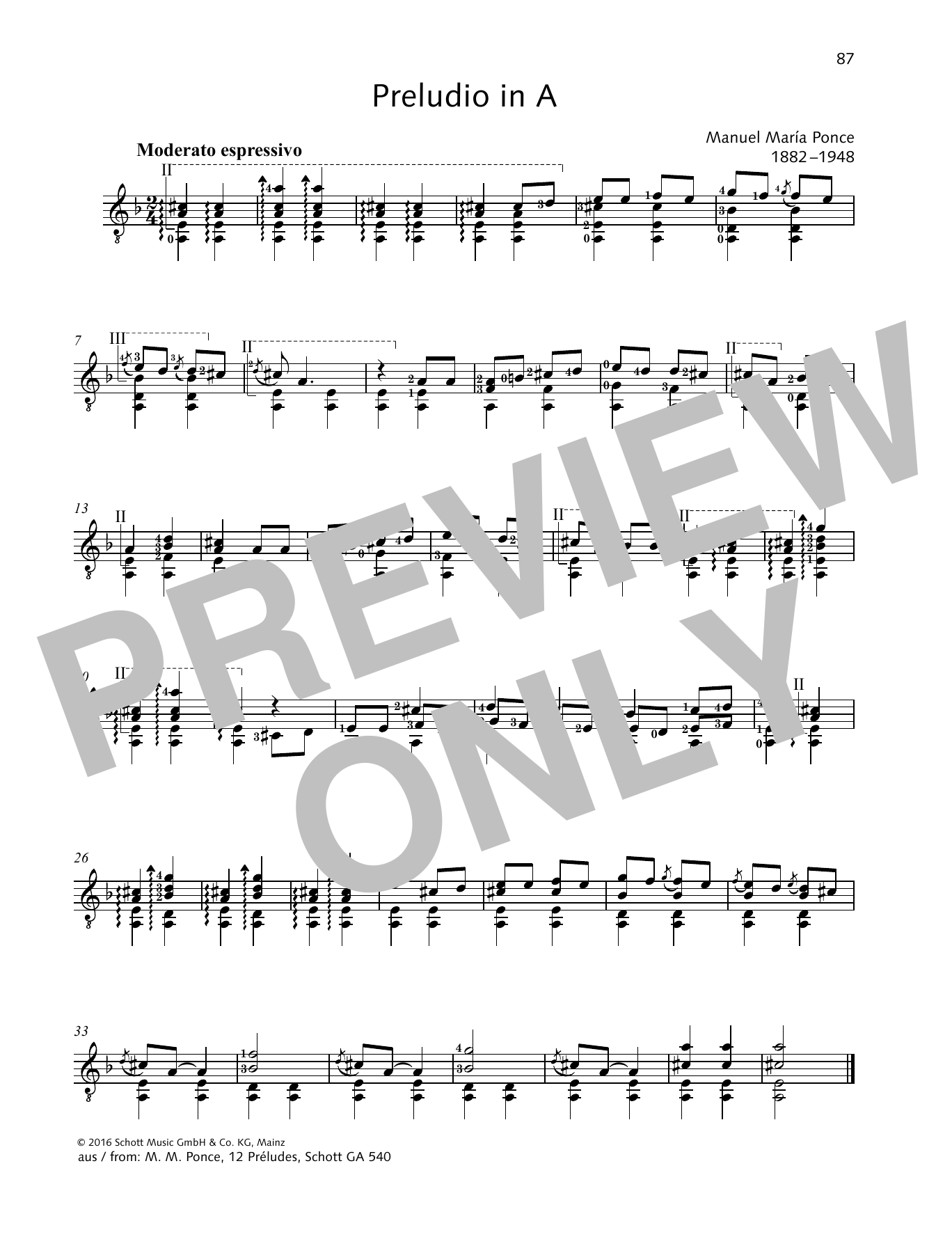 Preludio in A Sheet Music