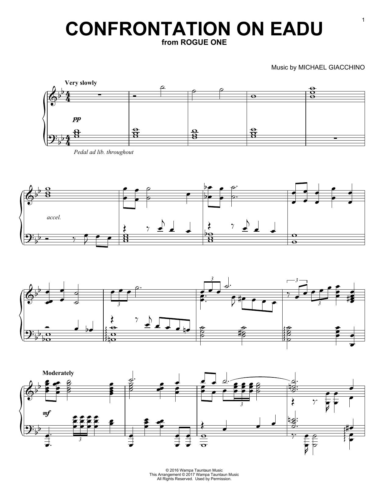 Partition piano Confrontation On Eadu (from Rogue One) de Michael Giacchino - Piano Solo