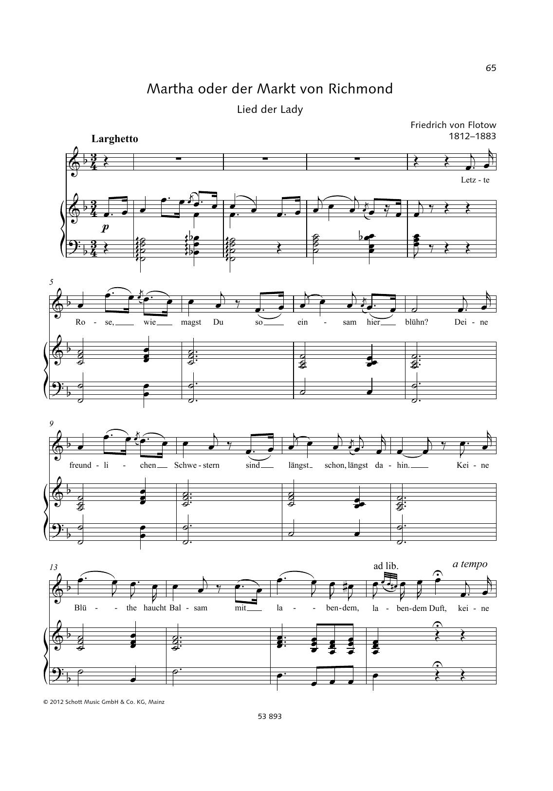 Letzte Rose Sheet Music