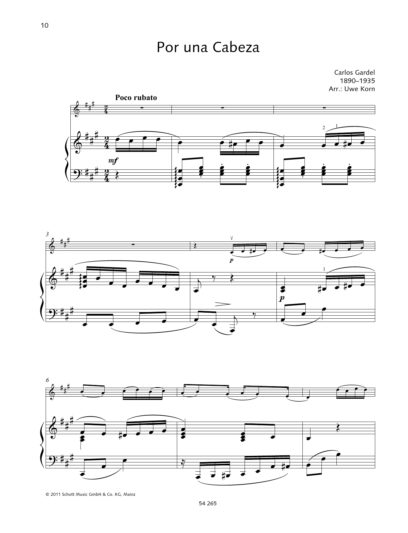 Por Una Cabeza Sheet Music