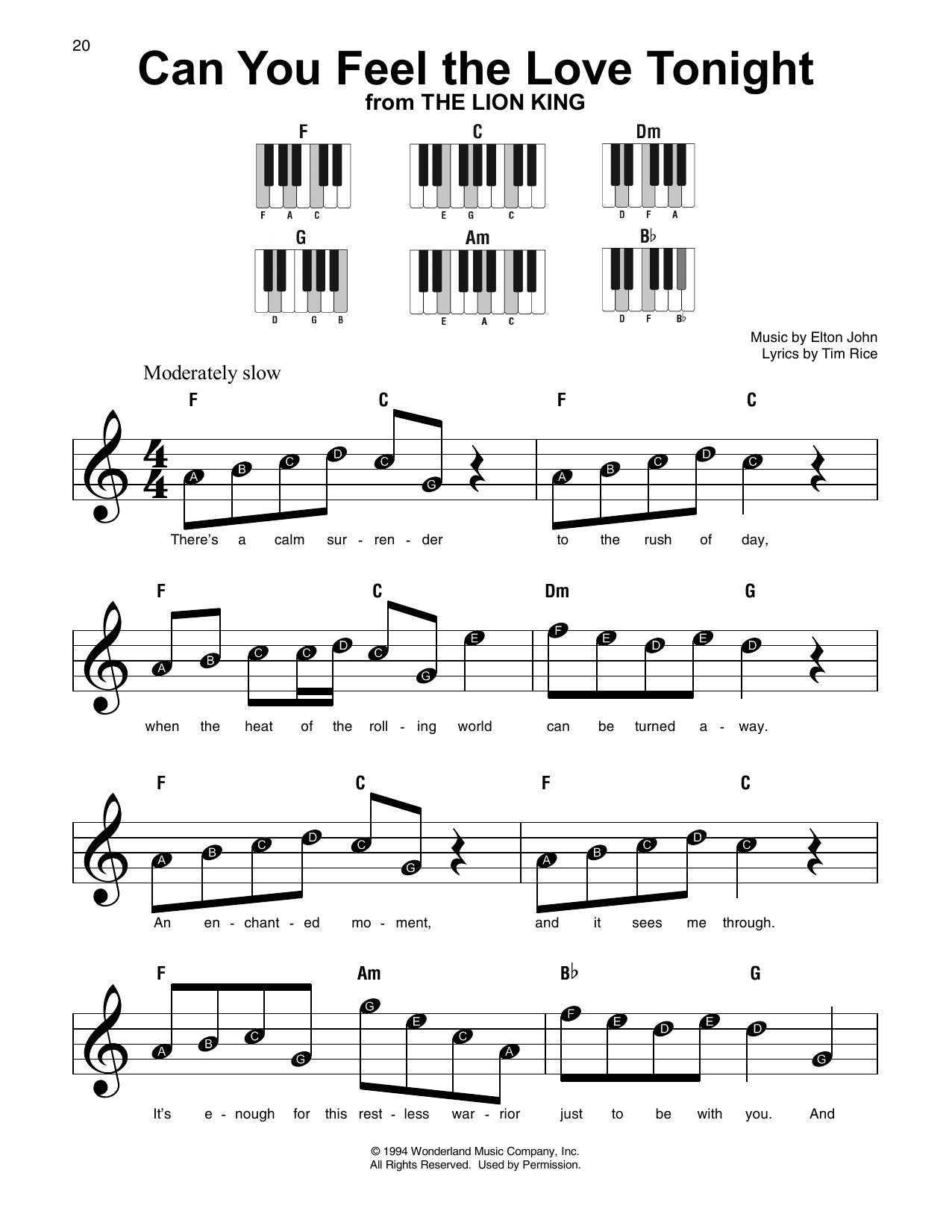 Can you feel the love tonight sheet music direct sheet preview hexwebz Gallery