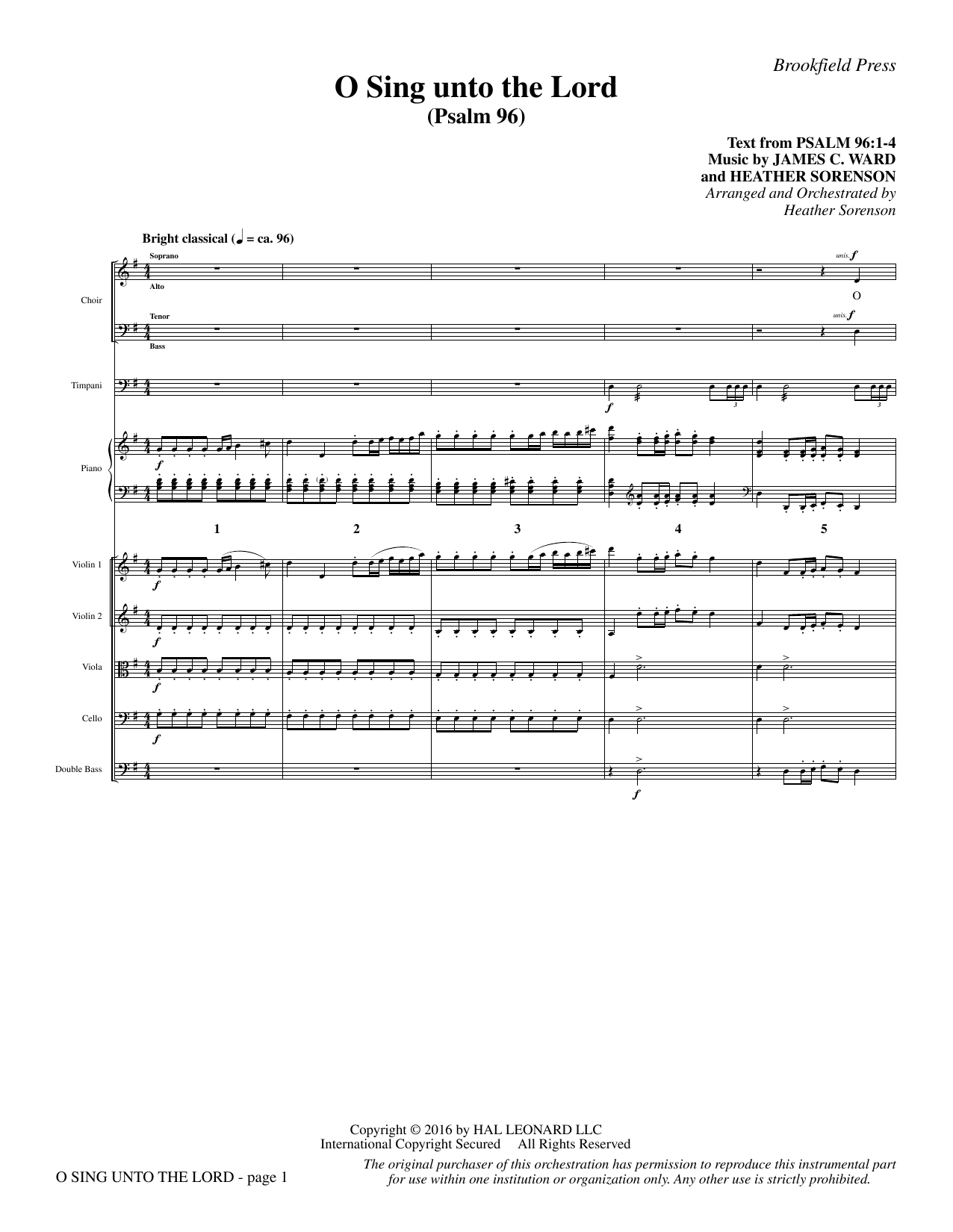 O Sing Unto the Lord - Full Score Sheet Music