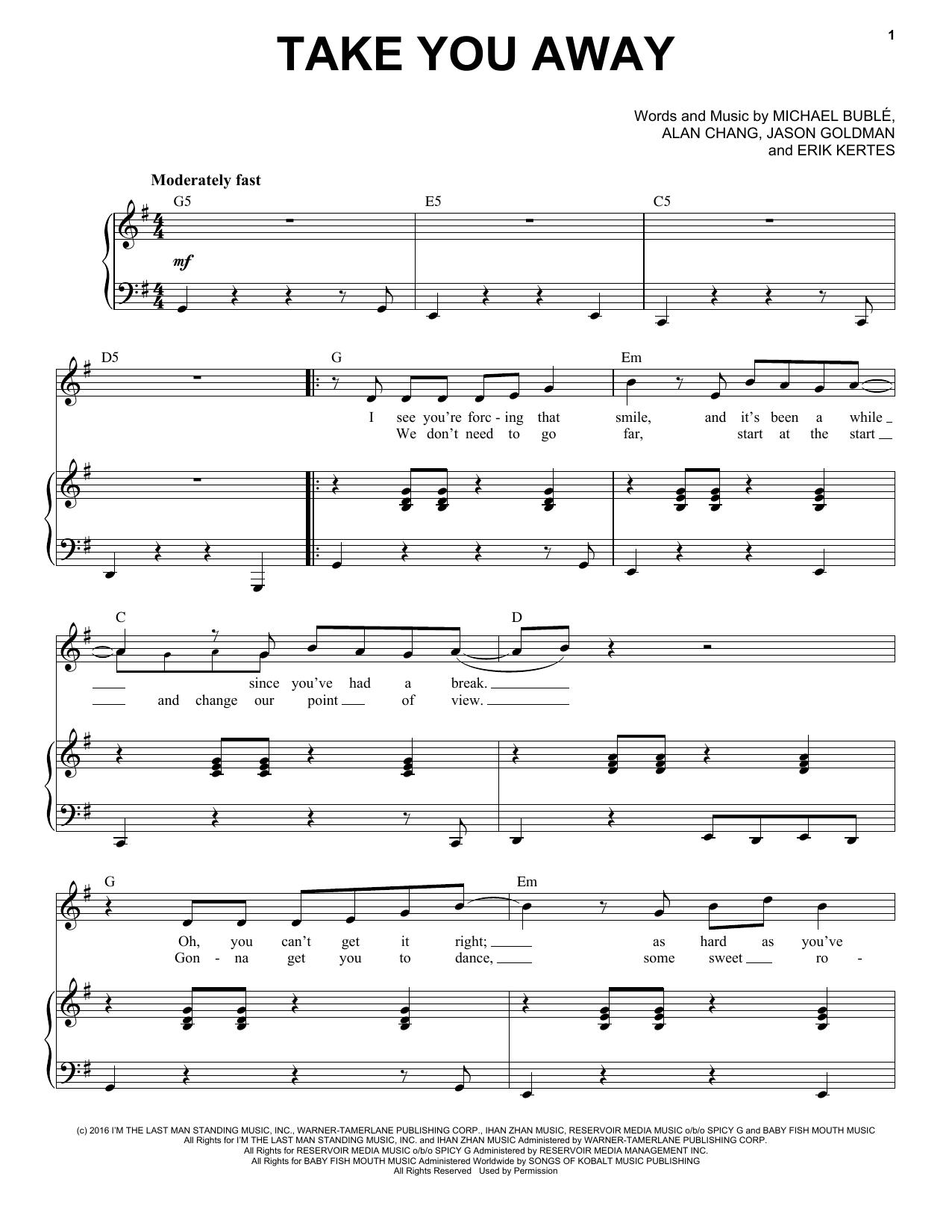 Partition piano Take You Away de Michael Buble - Piano Voix