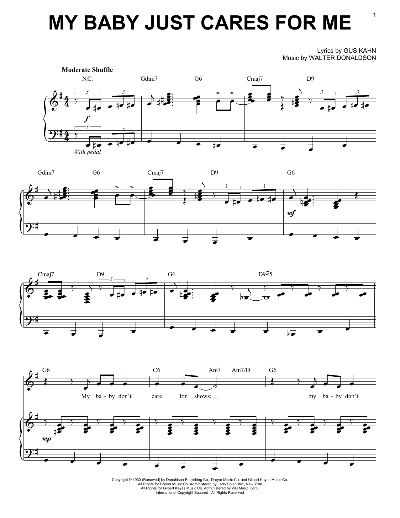 Partition piano My Baby Just Cares For Me de Michael Buble - Piano Voix