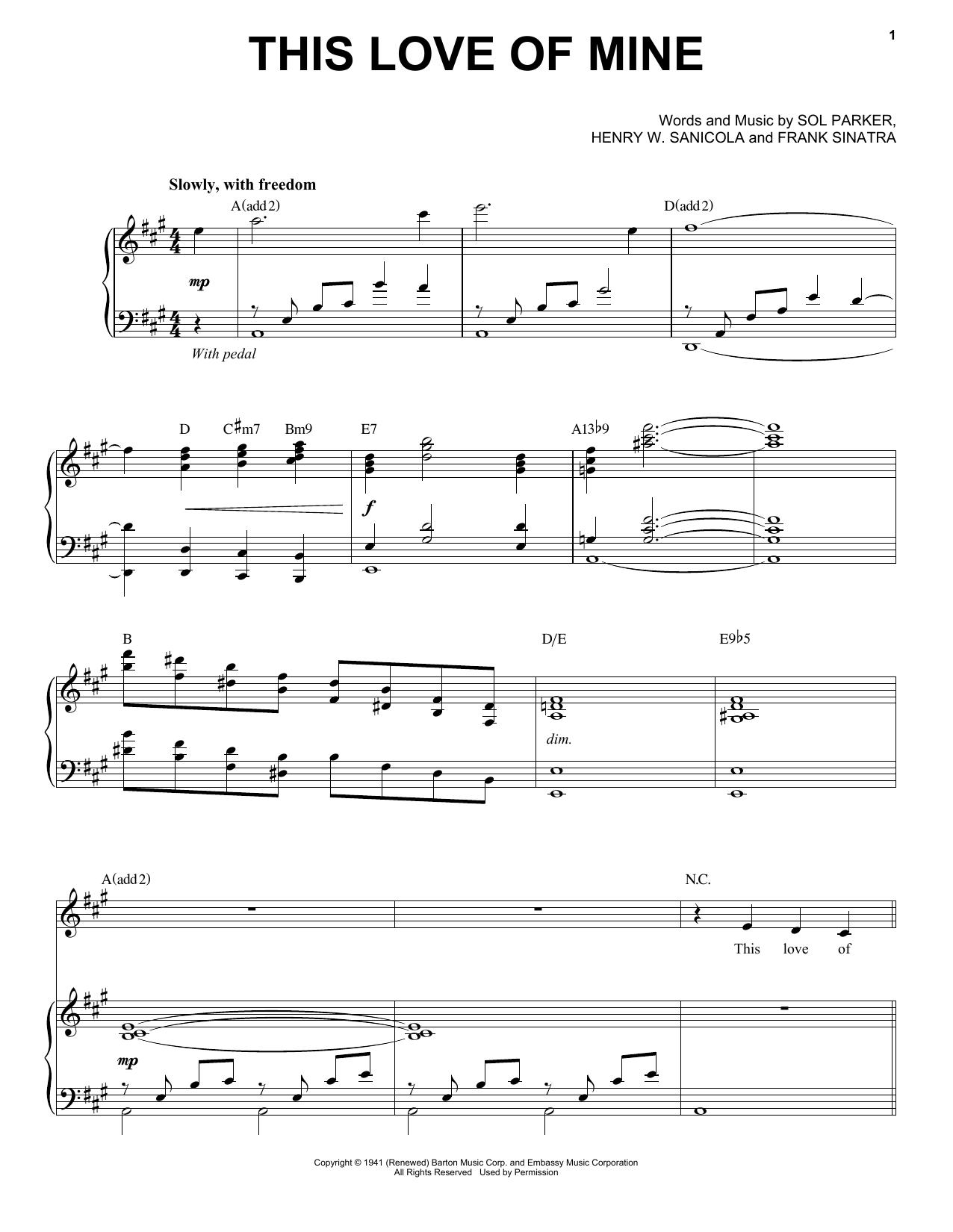Partition piano This Love Of Mine de Michael Buble - Piano Voix