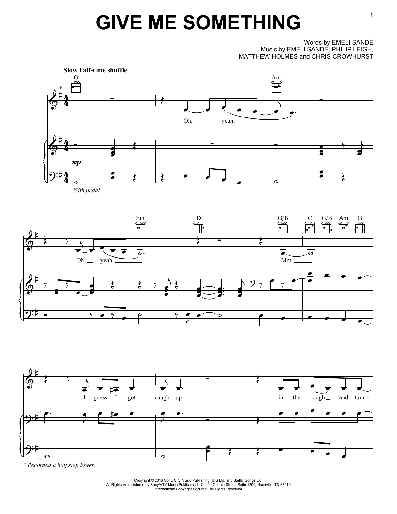 Give Me Something (Piano, Vocal & Guitar (Right-Hand Melody))
