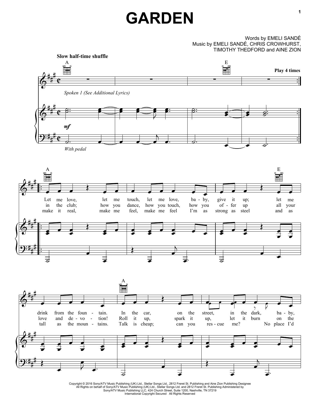 Partition piano Garden (feat. Jay Electronica & Aine Zion) de Emeli Sande - Piano Voix Guitare (Mélodie Main Droite)