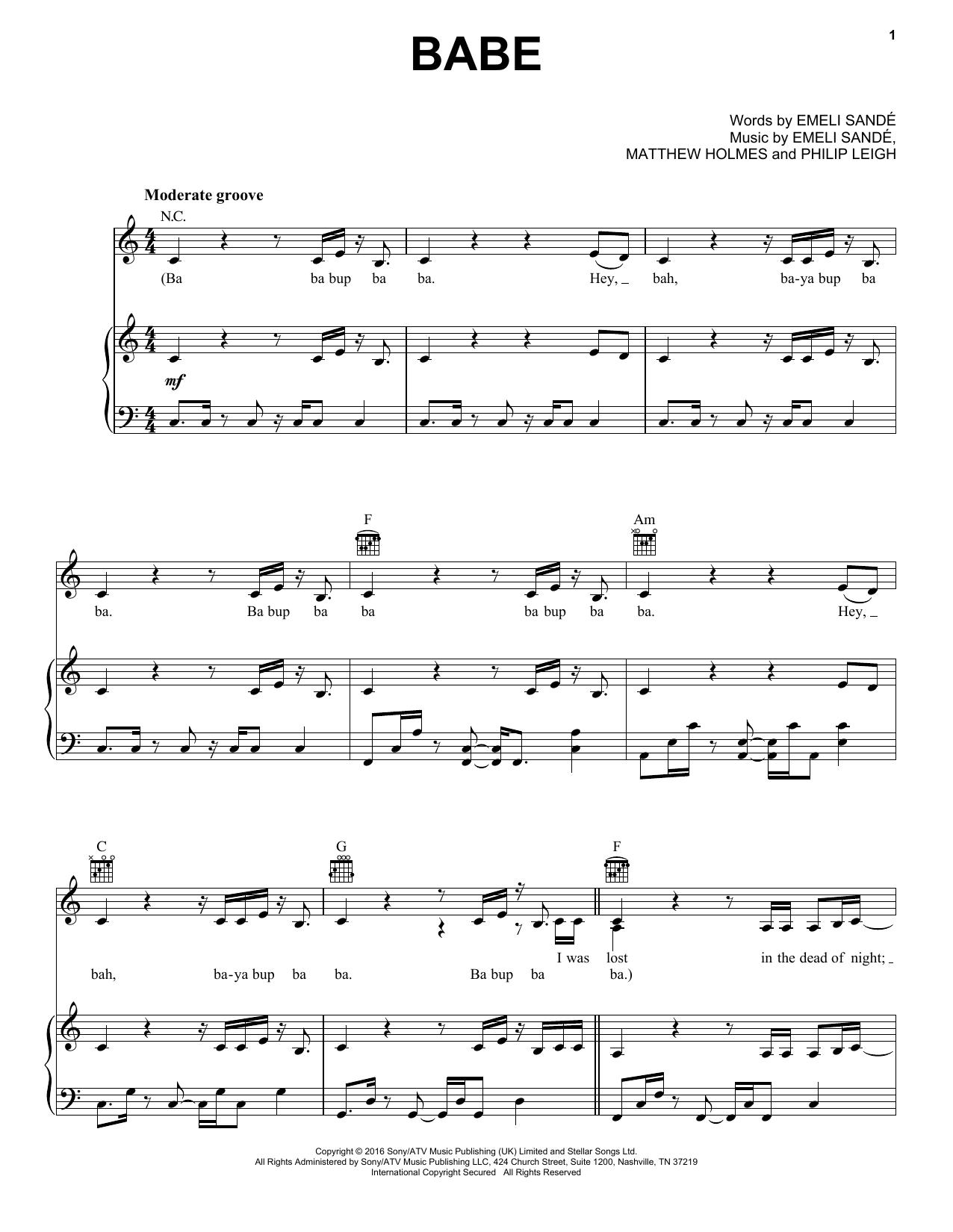 Partition piano Babe de Emeli Sande - Piano Voix Guitare (Mélodie Main Droite)