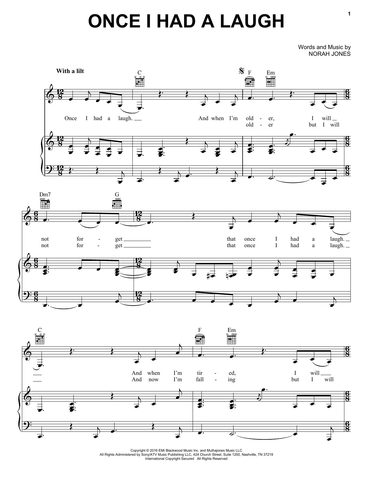 Partition piano Once I Had A Laugh de Norah Jones - Piano Voix Guitare (Mélodie Main Droite)