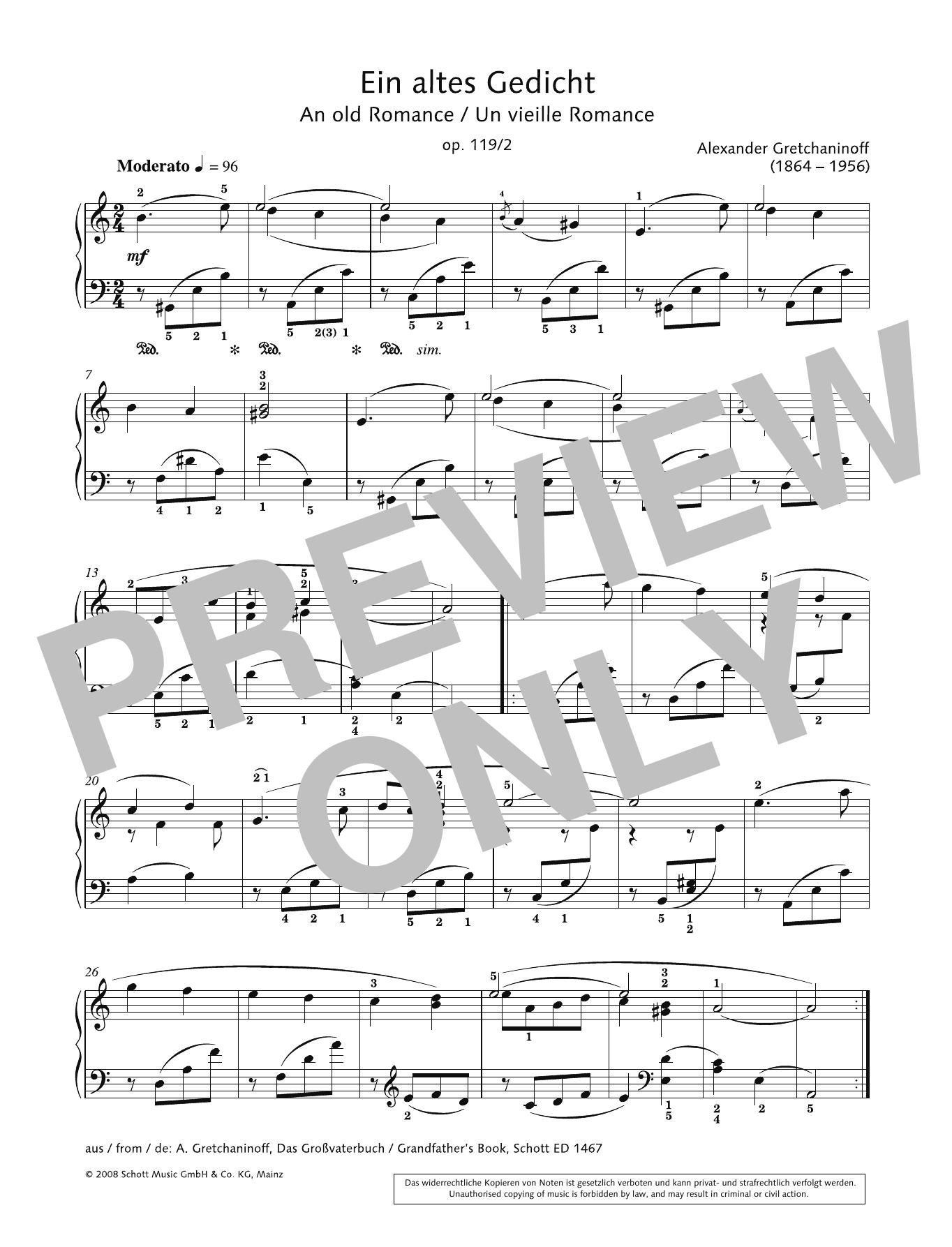 An Old Romance Sheet Music