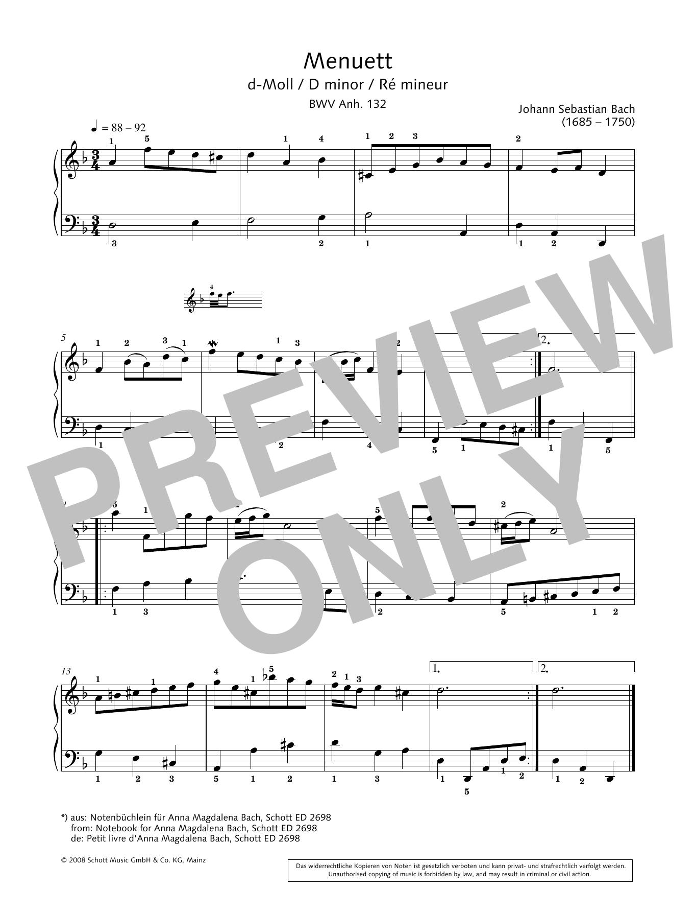Minuet in D minor Sheet Music