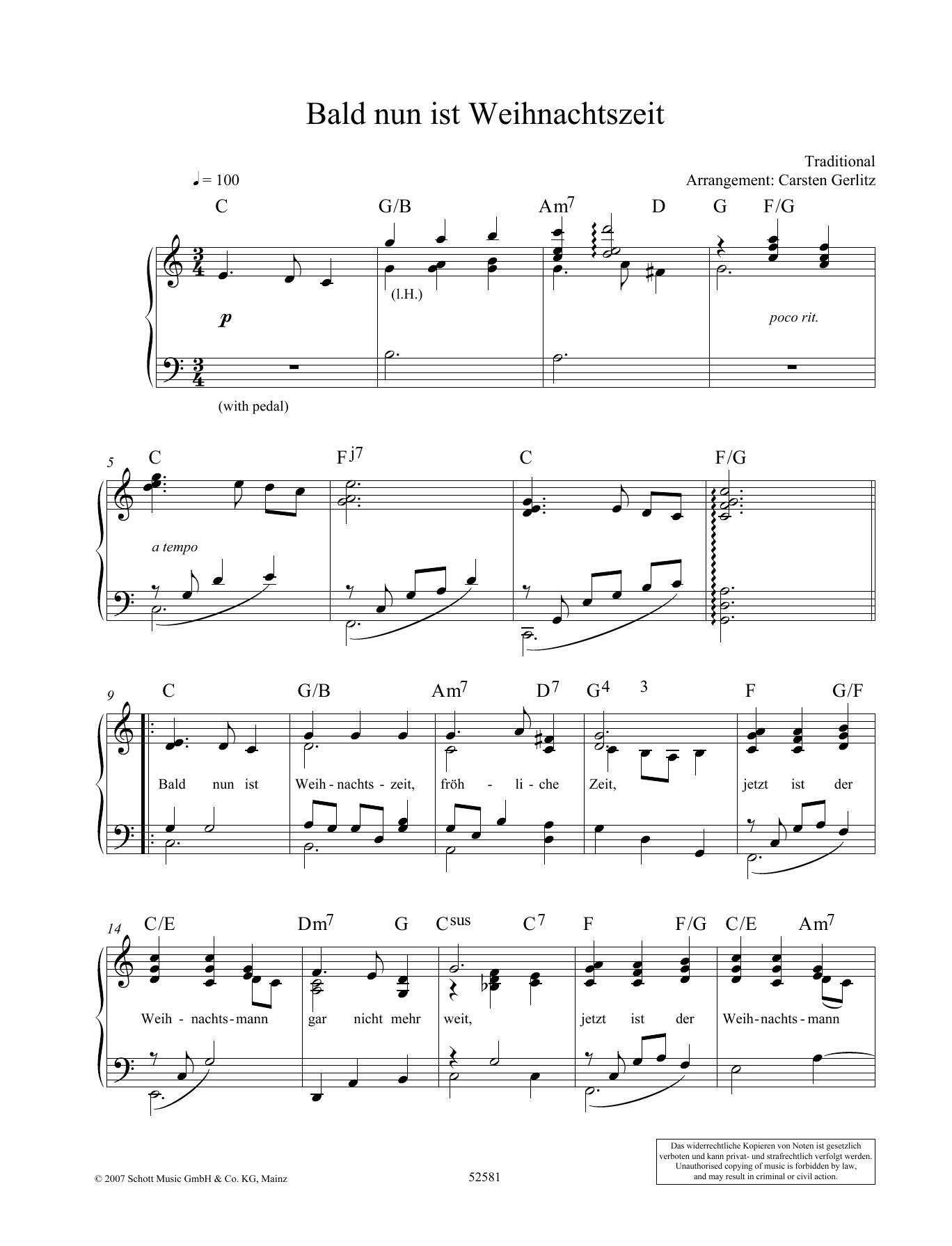 Bald nun ist Weihnachtszeit Sheet Music