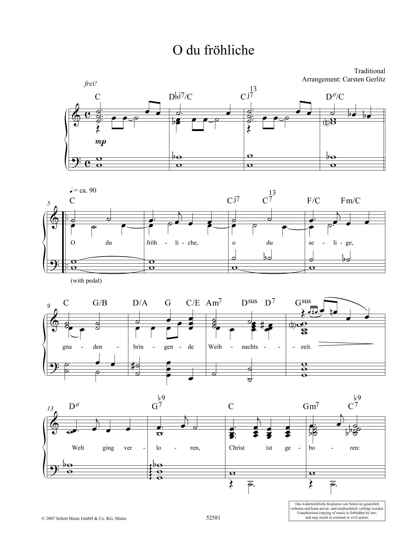 O du frohliche Sheet Music