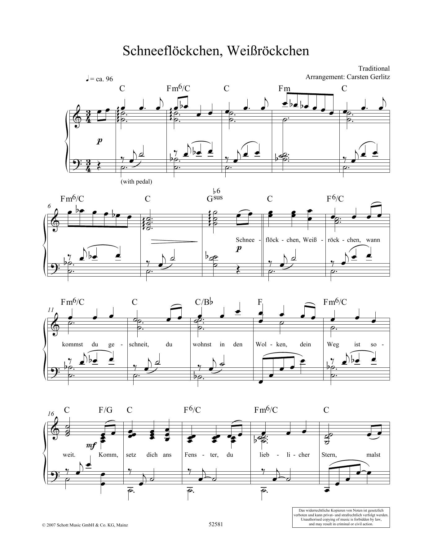 Schneeflöckchen, Weißröckchen Sheet Music