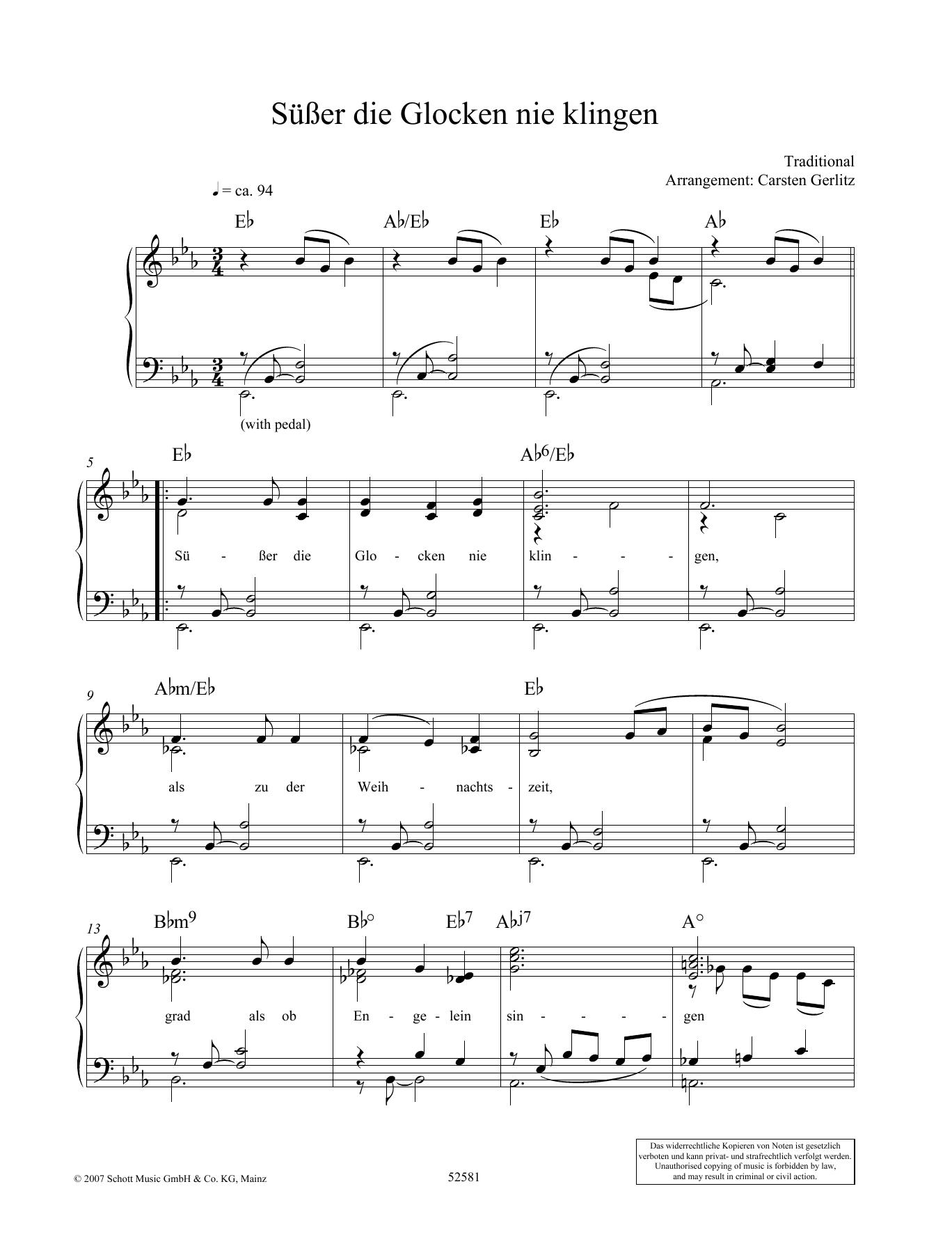 Susser die Glocken nie klingen Sheet Music