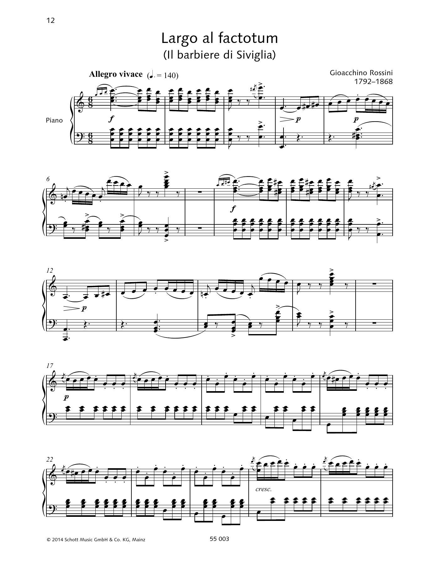 Largo al factotum Sheet Music