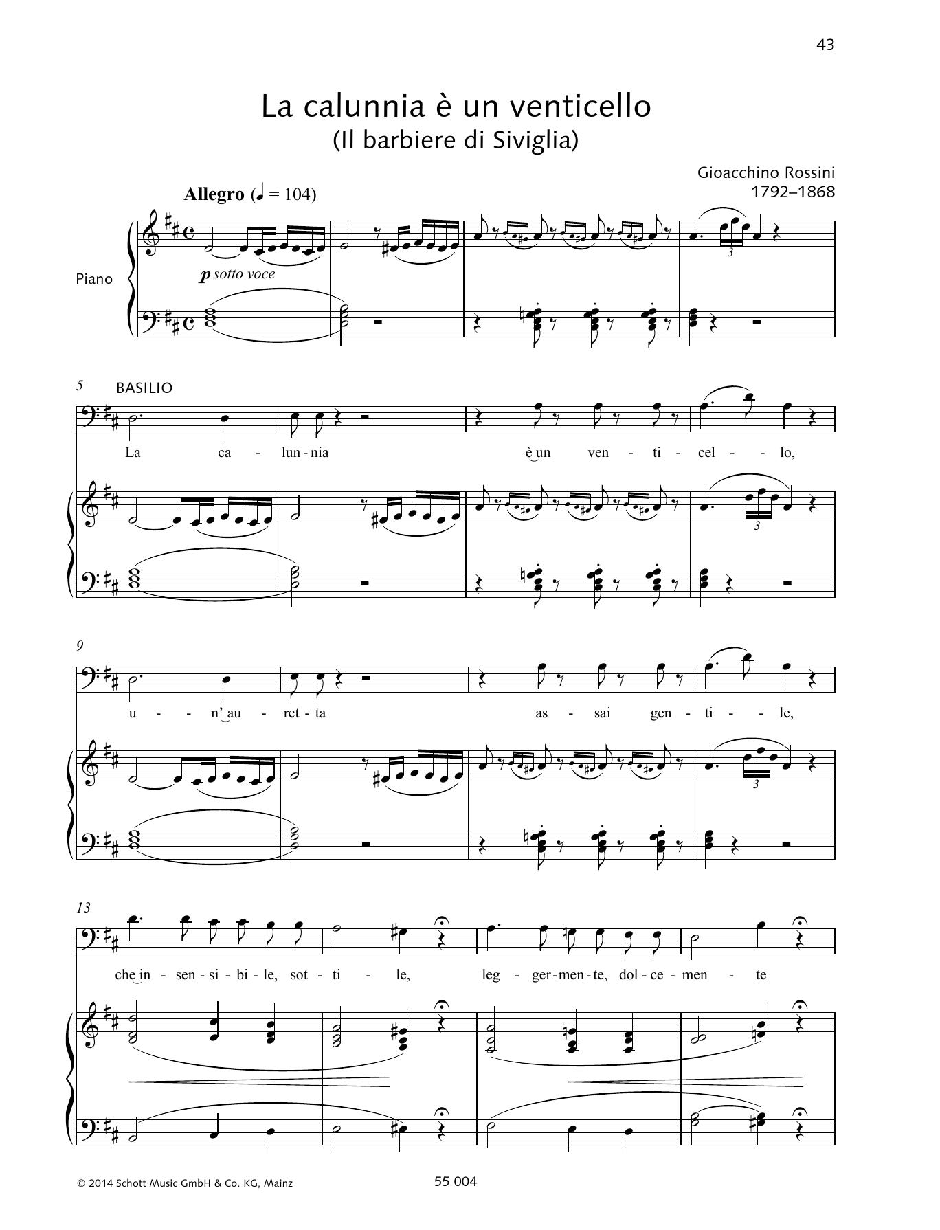 La calunnia è un venticello Sheet Music