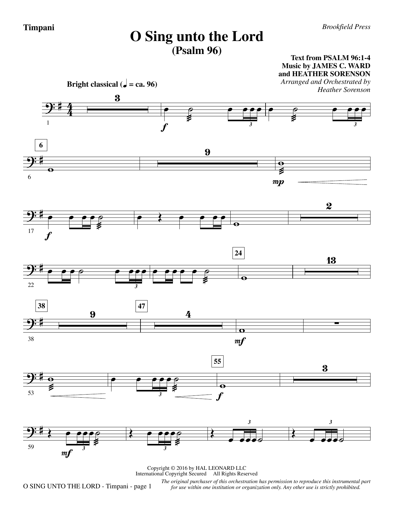 O Sing Unto the Lord - Timpani Sheet Music
