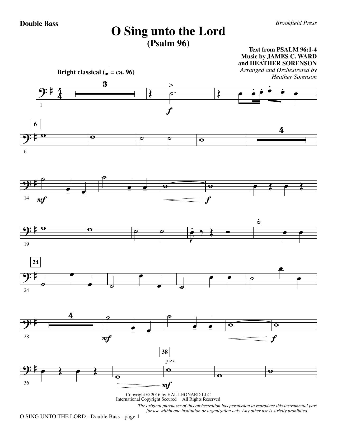 O Sing Unto the Lord - Double Bass Sheet Music