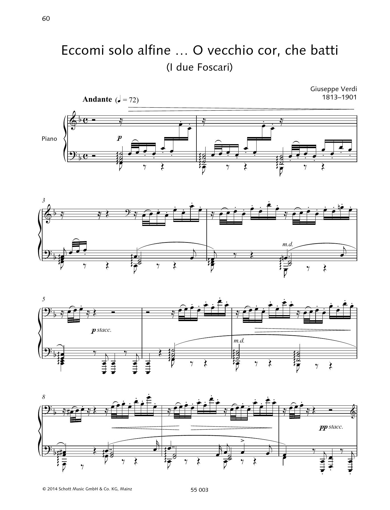 Eccomi solo alfine ... O vecchio cor, che batti Sheet Music