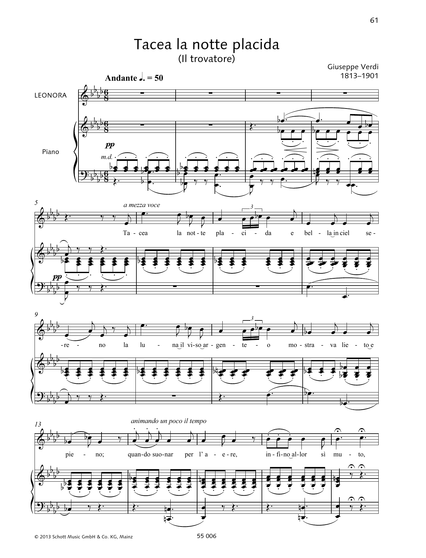 Tacea la notte placida Sheet Music