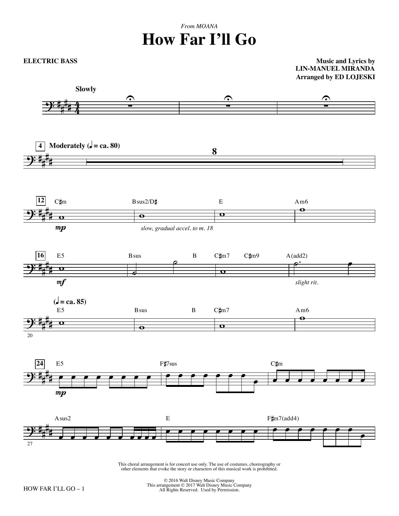 How Far I'll Go (from Moana) - Electric Bass Sheet Music