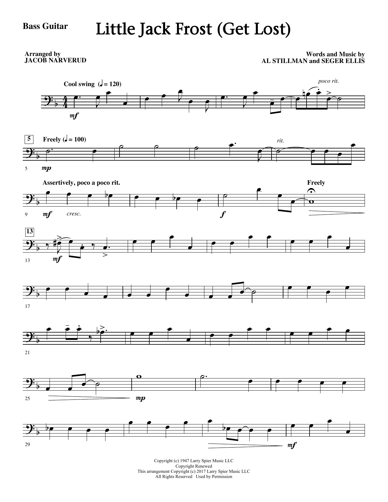 Little Jack Frost (Get Lost) - Bass Sheet Music