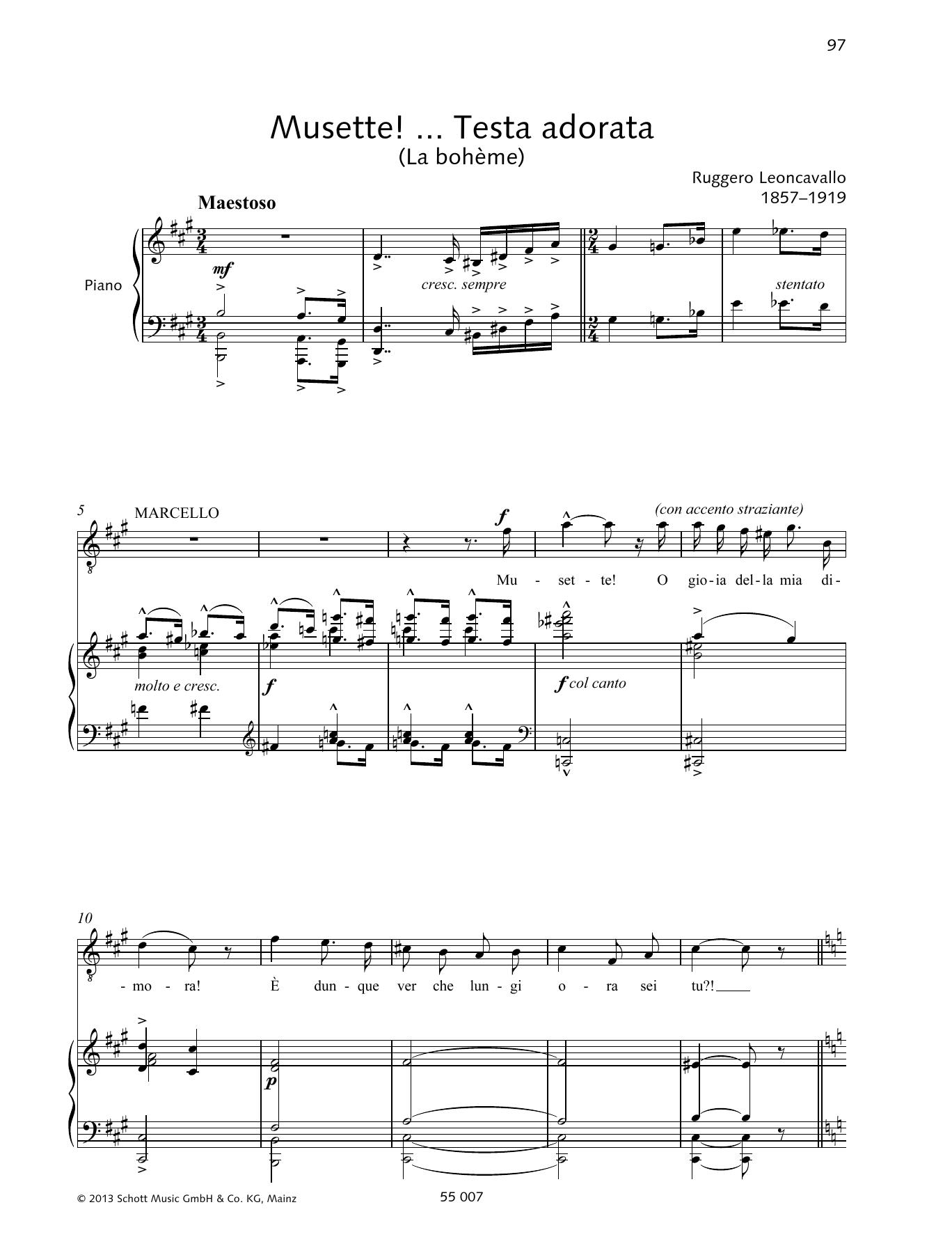 Musette! ... Testa adorata Sheet Music