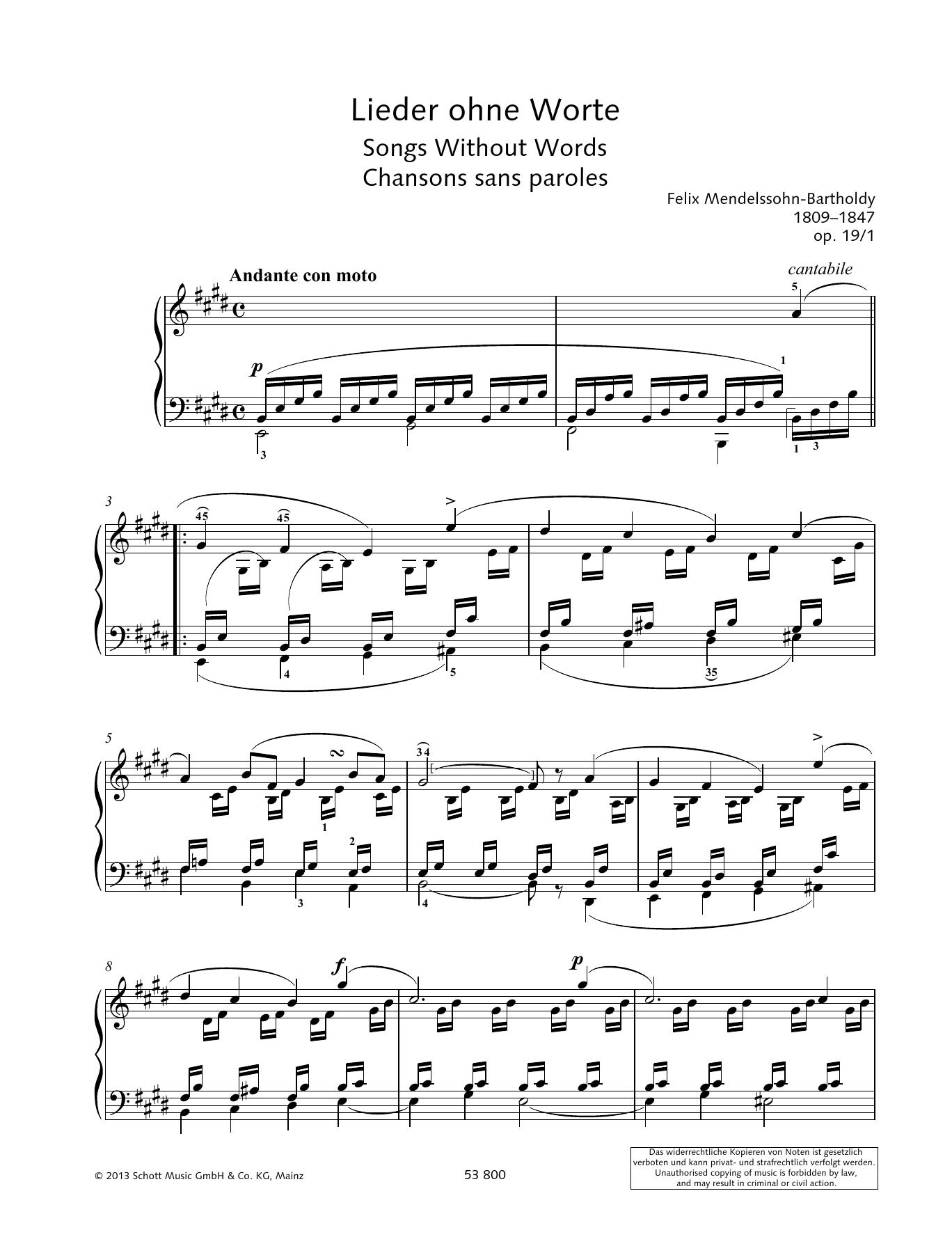 Andante Con Moto Sheet Music