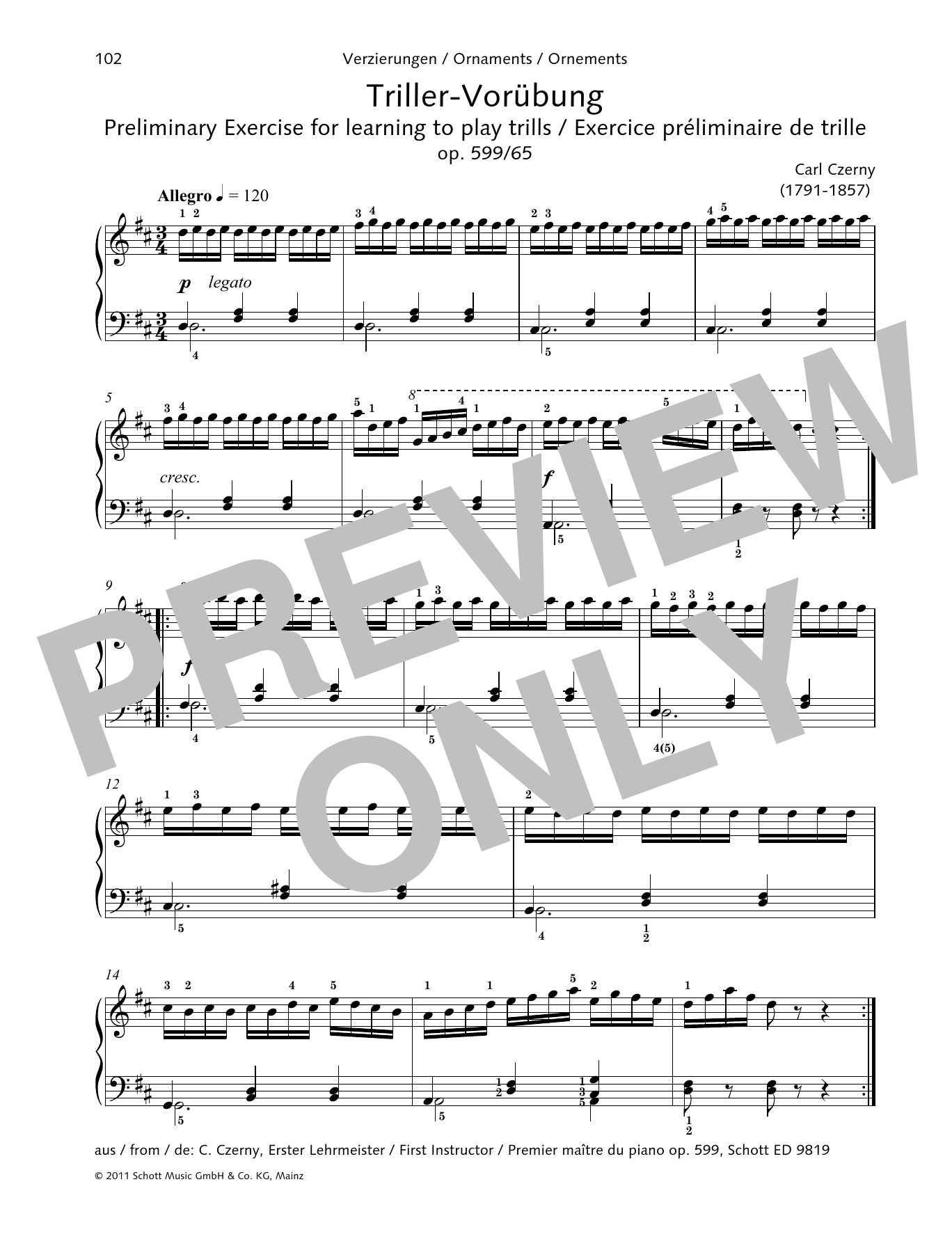 Preliminary Exercise for learning to play trills Sheet Music