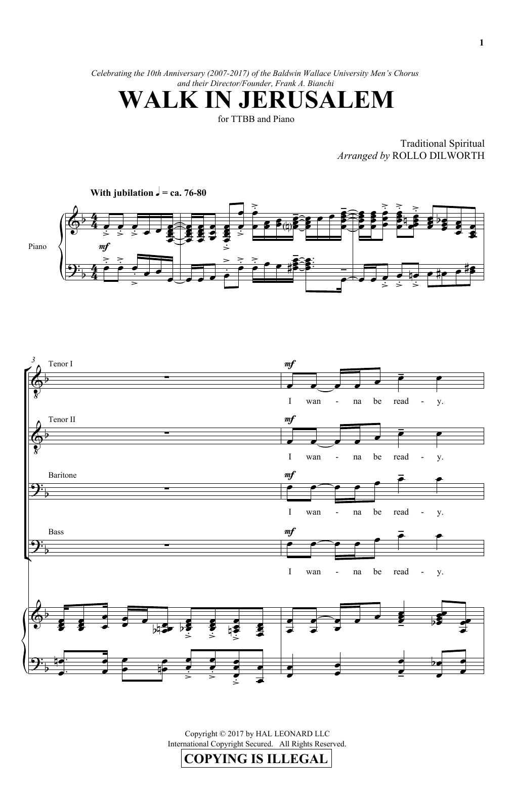Walk in jerusalem sheet music by rollo dilworth ttbb 180174 rollo dilworth walk in jerusalem ttbb hexwebz Gallery