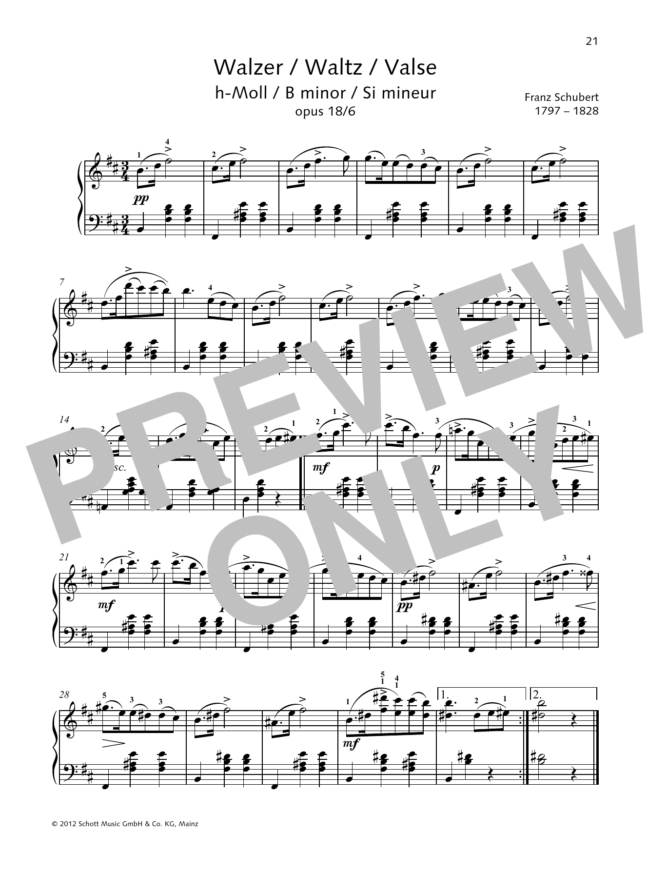 Waltz B Minor Sheet Music