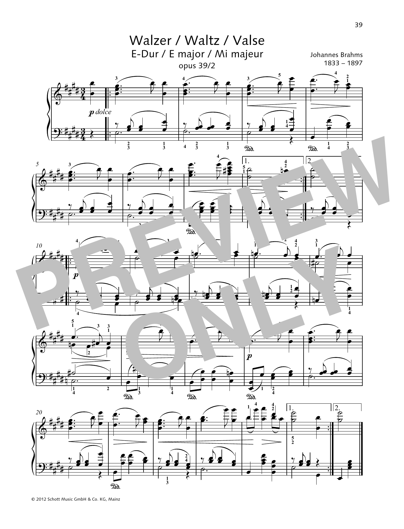 Waltz E major Sheet Music