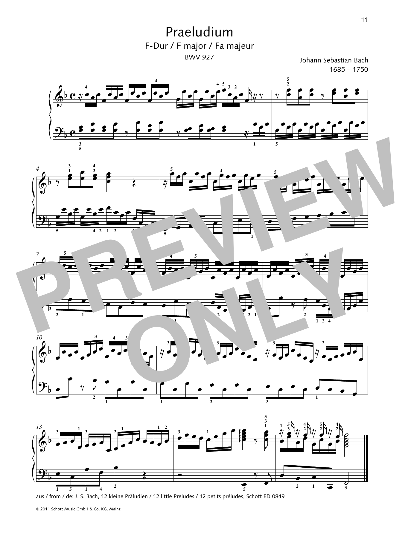 Prelude F major Sheet Music