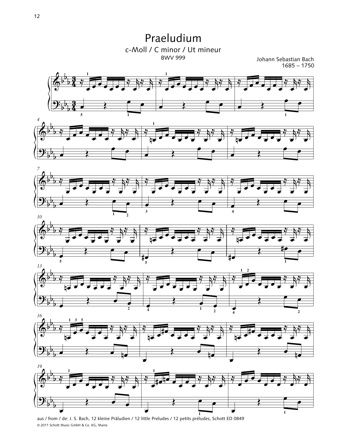 Prelude C minor Sheet Music