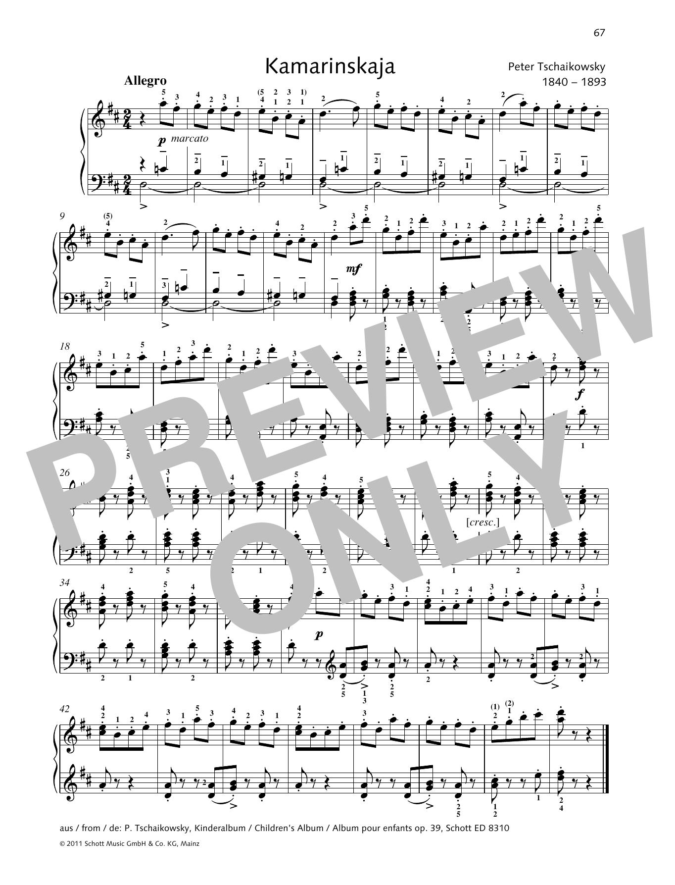 Kamarinskaja Sheet Music